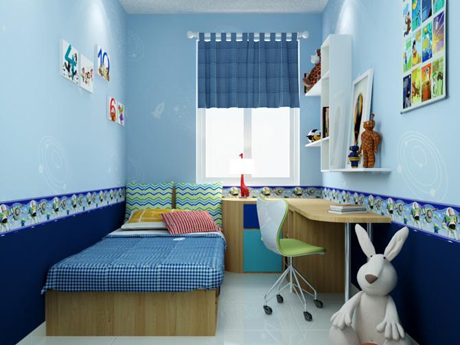 Phòng ngủ bé gái màu xanh nhạt